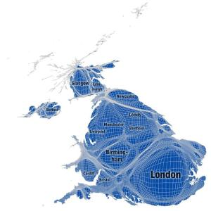 Map of UK distorted to show population density.
